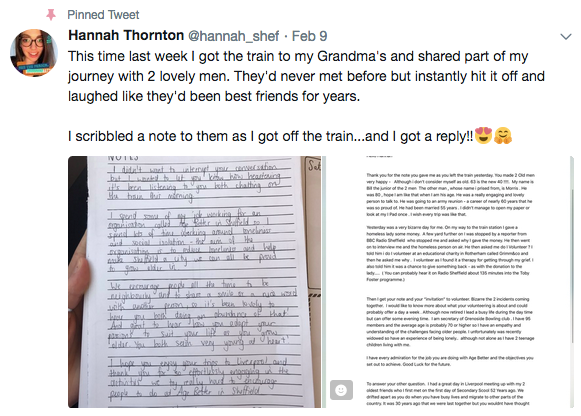Hannah's tweet, which ended up going viral