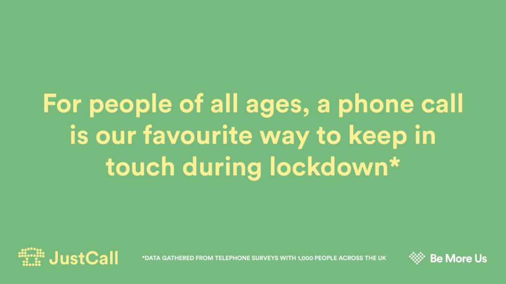 Text reads: For people of all ages, a phone call is our favoueite way ti keep in touch during lockdown